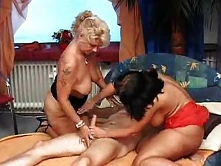 Cfnm group handjob cumshot